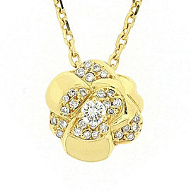 Chanel 18K Yellow Gold with Diamond Camellia Necklace