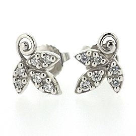 Tiffany & Co. Paloma Picasso 18K White Gold with Diamond Olive Reef Earrings