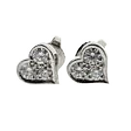 Tiffany & Co. Sentimental Platinum with Diamond Pierced Heart Earrings