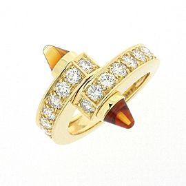 Cartier Menotte Ring 18K Yellow Gold Citrine & Diamond Size 5.5