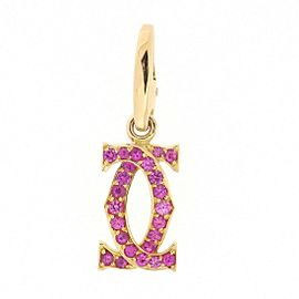 Cartier 18K Rose Gold with Pink Sapphire 2C Charm Pendant