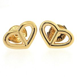 Hermes Chaine d'Ancre 18K Rose Gold Heart Pierced Earrings