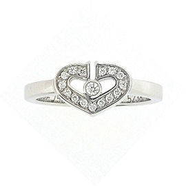 Cartier C Heart Ring 18K White Gold with Diamond Size 4.5