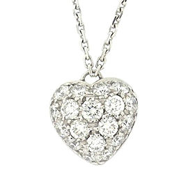Cartier 18K White Gold with Diamond Heart Necklace