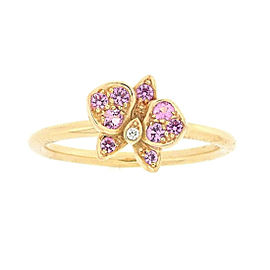 Cartier Caresse D'orchidees Par 18K Rose Gold Diamond & Sapphire Ring Size 5.25
