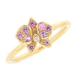 Cartier Caresse D'orchidees Par 18K Rose Gold Diamond & Sapphire Ring Size 5.25