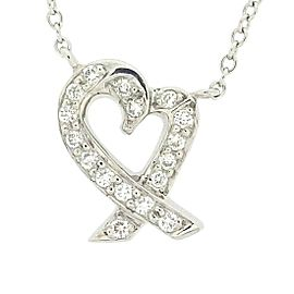Tiffany & Co. 950 Platinum with Diamond Loving Hearts Necklace