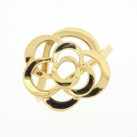Chanel 18K Yellow Gold Camellia Ring Size 7.75