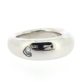 Chaumet 18K White Gold with 0.01ct Diamond Heart Ring Size 5.25