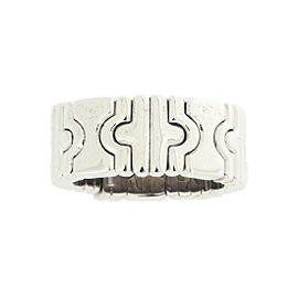 Bulgari 18K White Gold Parentesi Ring Size 4.75