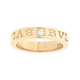 Bulgari 18K Rose Gold with 0.01ct Diamond Double Logo Ring Size 5.5
