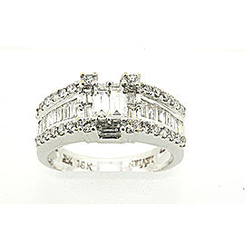 Levian 18k White Gold Baguette Round Diamond Band Ring sz 7