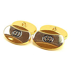 Gucci Gold & Silver Tone Hardware Interlocking Cufflinks