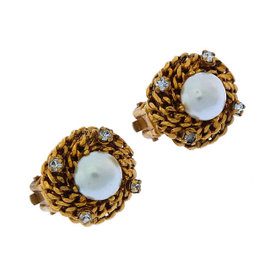 Chanel Gold Tone Hardware with Simulated Glass Pearl & Rhinestone Earrings