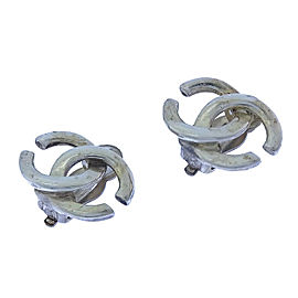 Chanel Coco Mark Silver Tone Hardware Earrings