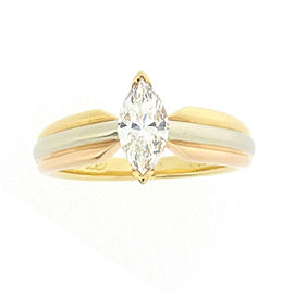 Cartier Solitaire Ring 18K Yellow, White & Rose Gold with 0.52ct Diamond Size 4.75