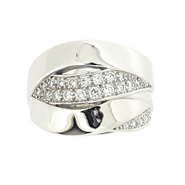 Chanel 18K White Gold with Diamond Bolduc Ring Size 7