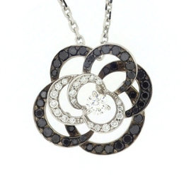 Chanel 18K White Gold with Diamond Camellia Necklace