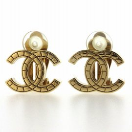 Chanel Coco Mark Gold Tone Hardware Clip-On Earrings