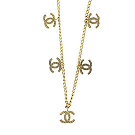 Chanel Coco Mark Gold Tone Hardware Necklace