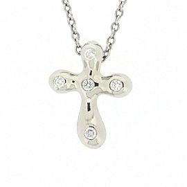 Tiffany & Co. Platinum with Diamond Mini Cross Necklace