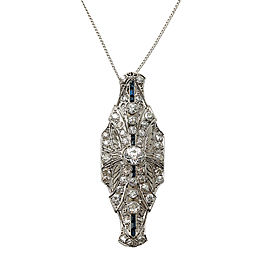 "18K White Gold Old Miner Cut Diamonds Sapphires Brooch 10.8 Gr 16"""