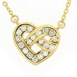 Tiffany & Co. 18K Yellow Gold with Diamond Heart Necklace