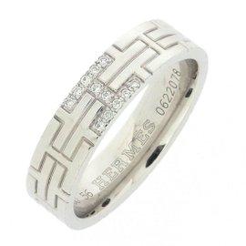 Hermes Kilim 18K White Gold with Diamond Ring Size 7.5