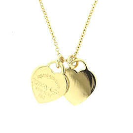 Tiffany & Co. Rreturn To Tiffany 18K Yellow Gold Double Heart Tag Necklace