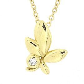 Tiffany & Co. 18K Yellow Gold with Diamond Leaf Motif Necklace