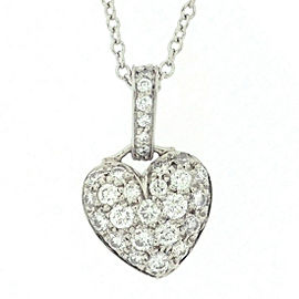 Tiffany & Co. 950 Platinum with Diamond Heart Necklace
