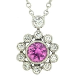 Tiffany & Co. 950 Platinum Pink Sapphire & Diamond Flower Necklace