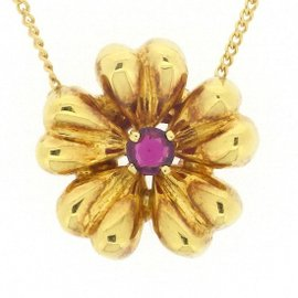 Tiffany & Co. 18K Yellow Gold with Ruby Flower Motif Necklace