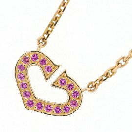 Cartier C Heart Pendant Necklace 18K Rose Gold with Pink Sapphire