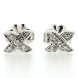Tiffany & Co. 18K White Gold with Diamond Signature Pierced Earrings