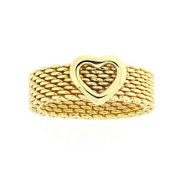 Tiffany & Co. 18K Yellow Gold Somerset Heart Ring Size 5.5