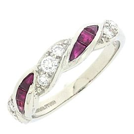 Tiffany & Co. 950 Platinum Ruby & Diamond Ring Size 5.75