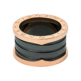 Bulgari B Zero 1 18K Rose Gold and Black Ceramic 4 Band Loops Spiral Ring Size 5