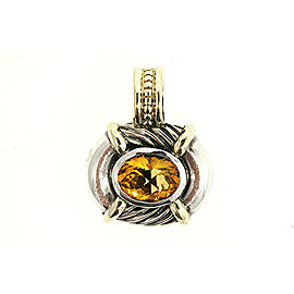 David Yurman 925 Sterling Silver & 14K Yellow Gold with Citrine Pendant