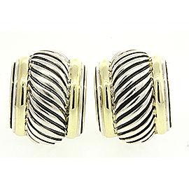 David Yurman 925 Sterling Silver & 14K Yellow Gold Cigar Cable Thoroughbred Hoop Earrings