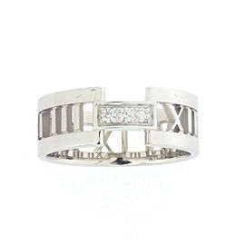Tiffany & Co. Atlas 18K White Gold with Diamond Ring Size 10.75