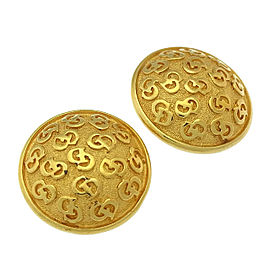 Dior Gold Tone Hardware Logos Earrings