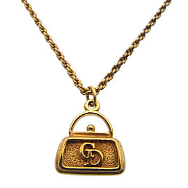 Christian Dior Logo Gold Tone Hardware Pendant Necklace