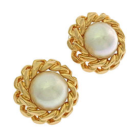 Christian Dior Gold Tone Hardware Simulated Glass Pearl Earrings