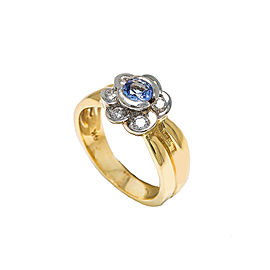 14K Two Tone Yellow Gold Diamond Tanzanite Flower Ring 6.5 Grams Ring Size 6.75