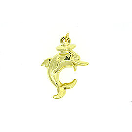 "Large 2"" 18k Yellow Gold Dolphin in Hat Pendant Charm Jumping 3D Puff Puffy"