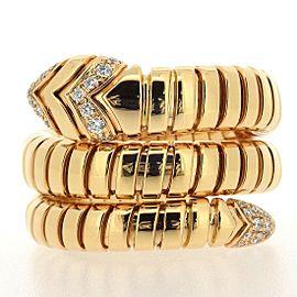 Bulgari Serpenti Tubogas 18K Rose Gold Diamond Ring Size 6