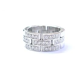 Cartie Maillon Panthere 18K White Gold .75CTW Diamond Band Ring Size 4