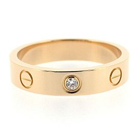 Cartier Mini Love Ring 18K Rose Gold with Diamond Size 6