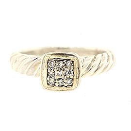 David Yurman Sterling Silver Diamond Ring Size 6
